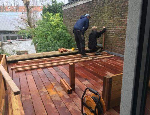 Aménagement d'une terrasse en bois exotique «Cumaru» sur plots